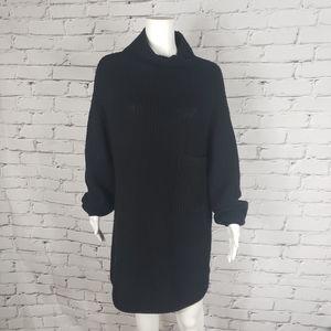 Wilfred Black Merino Wool Oversized Sweater Dress